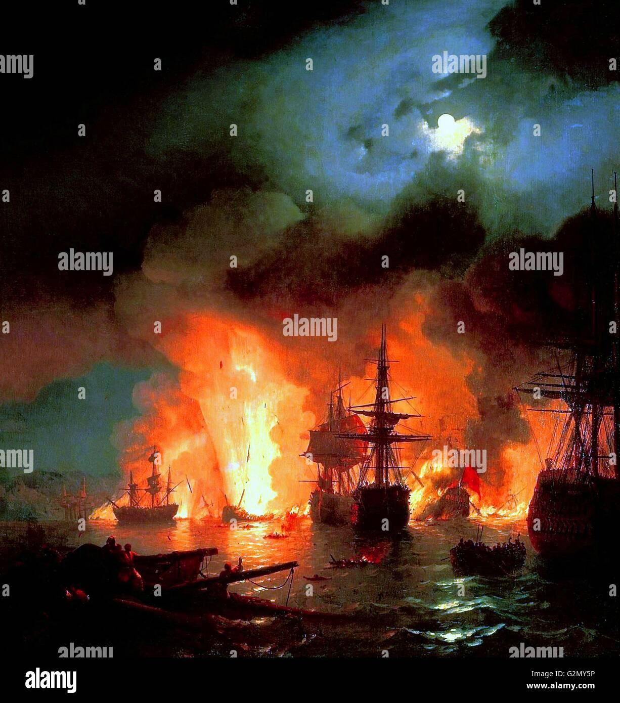 'Battle of Cesme at Night' by Ivan Aivazovsky. Stock Photo