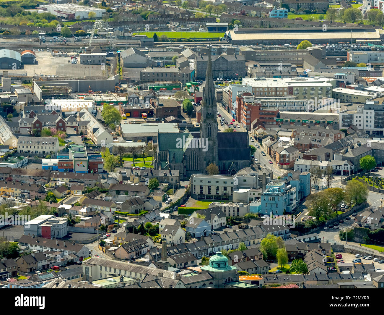 Aerial view, Downtown Limerick on the River Shannon with the