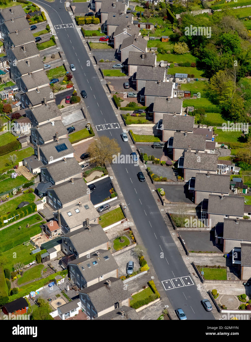 Aerial view, terraced houses, housing estate, Terrace Housing Limerick, cottages,, Limerick, COUNTY CLARE, Ireland, - Stock Image