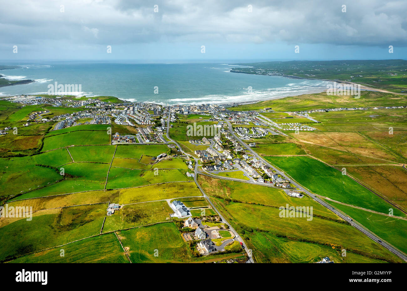 Aerial view, Lahinch at Liscannor Bay, Lahinch, COUNTY CLARE, Clare, Ireland, Europe, Europe IE, Europe, Aerial - Stock Image