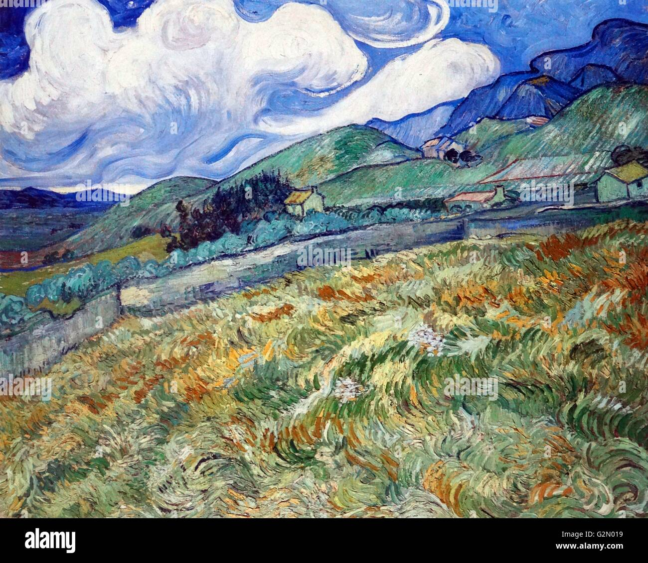 Vincent Van Gogh 'Wheat field with mountains in the background'. - Stock Image
