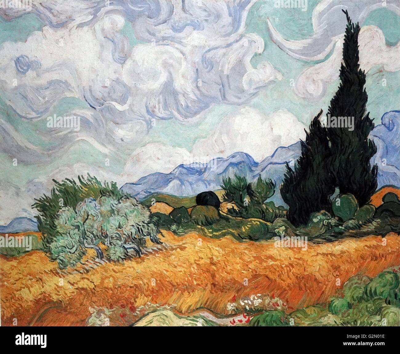 Vincent Van Gogh 'Wheat Field with Cypress'. - Stock Image