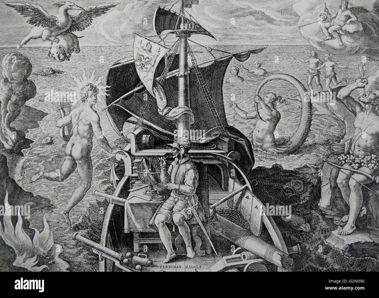 the discovery of the Magellan Straits - Stock Image