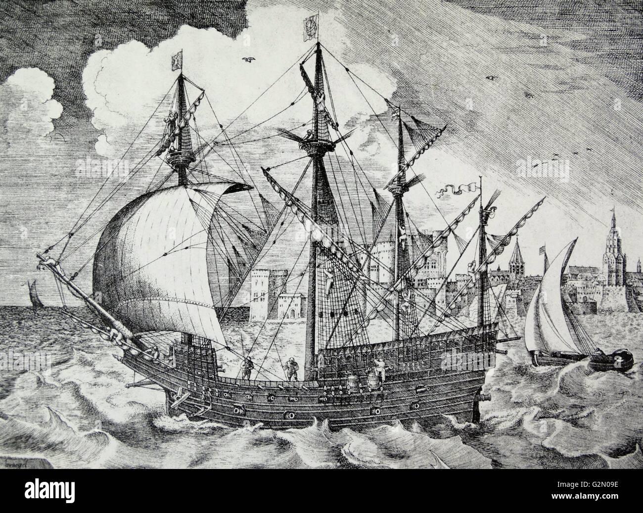 sixteenth century Portuguese or Spanish ship by Pieter Brueghel - Stock Image