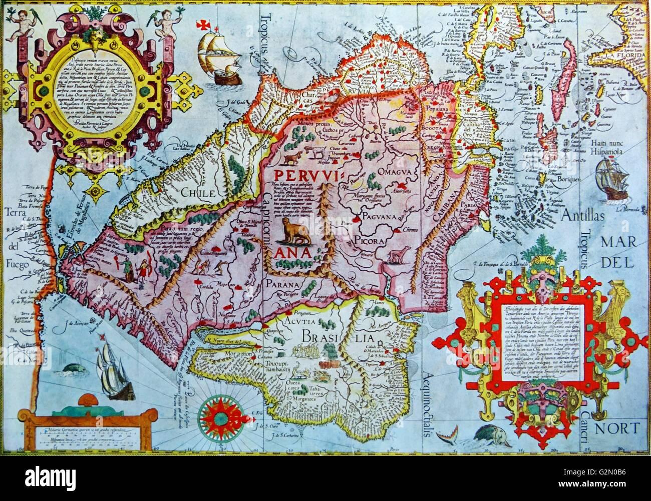 Map peru stock photos map peru stock images alamy map of peru arnoldus florentius 1599 stock image gumiabroncs Gallery
