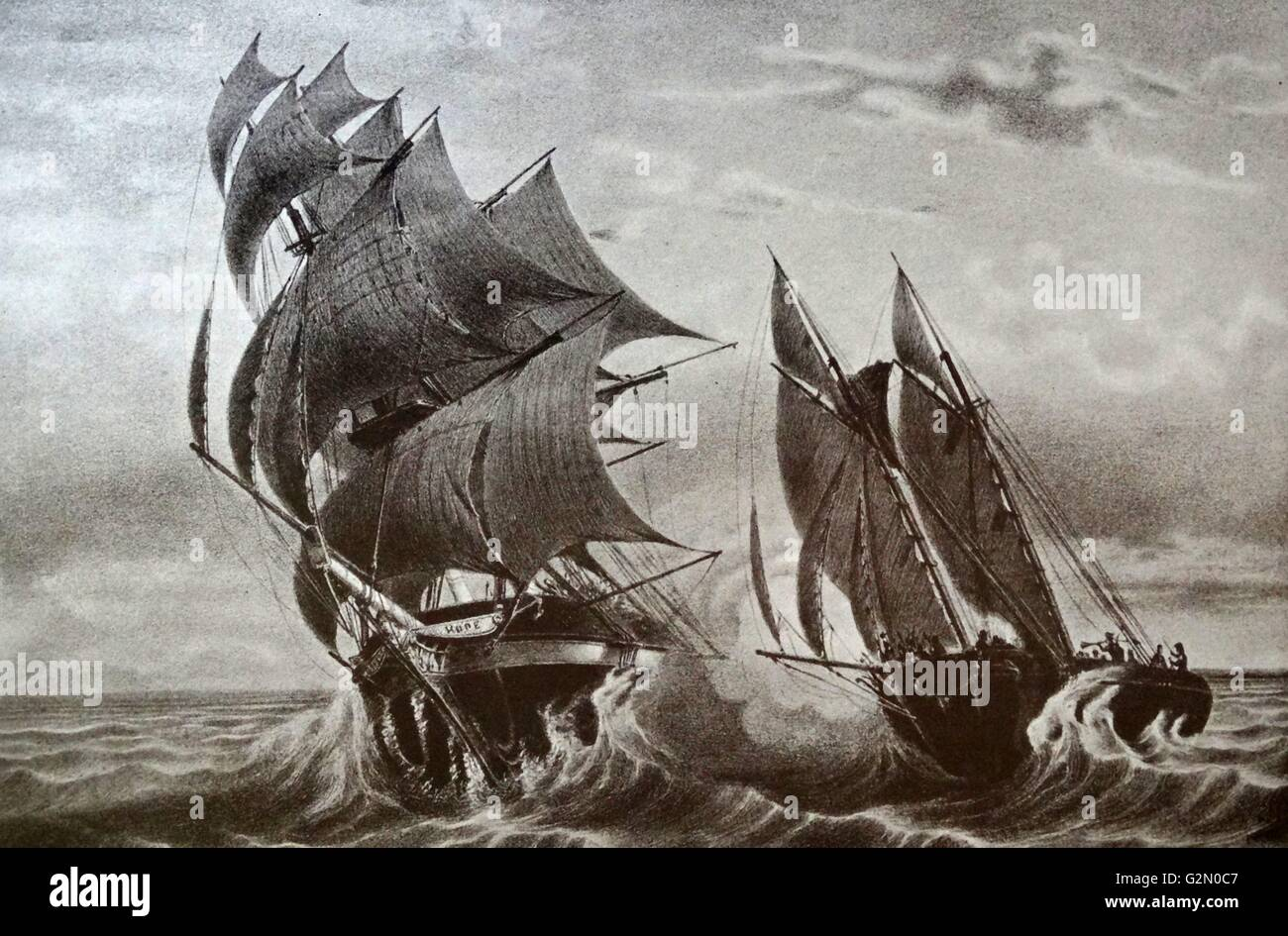 A pirate schooner ship, Commanded by Robert Surcouf Attacking the