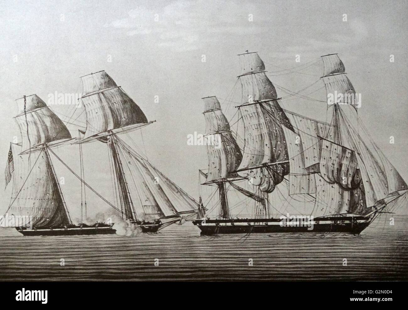 The American pirate ship 'The Surprise' capturing the Royal Navy ship 'the star' - Stock Image