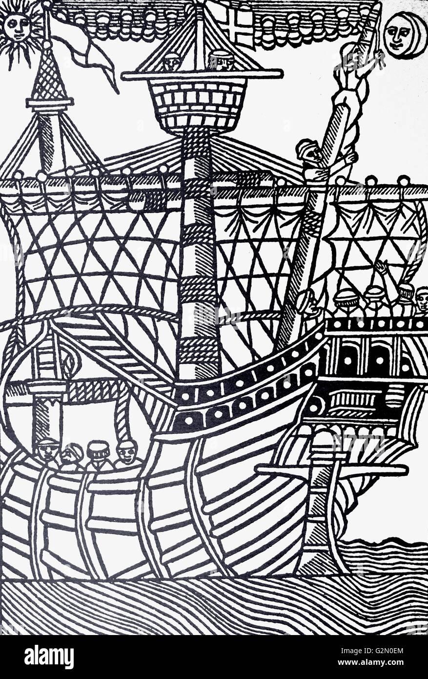 A Spanish caravel. Woodcut from the 'Libre de Cosolat tractat dels fets maritims,' Barcelona, 1502. - Stock Image