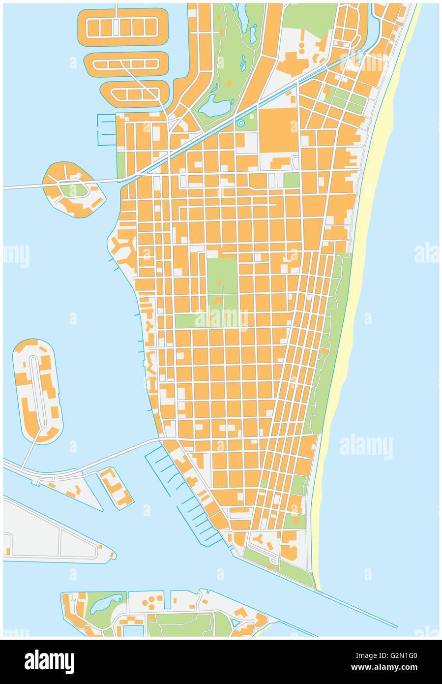 Detailed Florida Map.Miami Beach Detailed Vector Street Map Florida Stock Vector Art