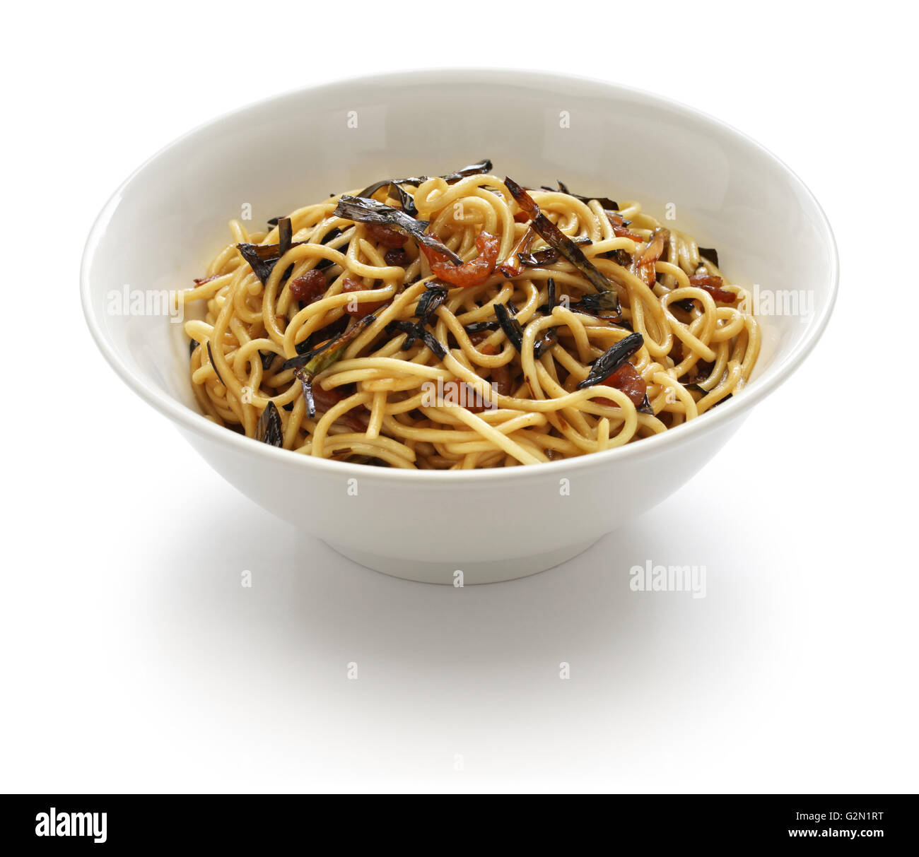 noodles with scallion oil and soy sauce, chinese Shanghai food - Stock Image
