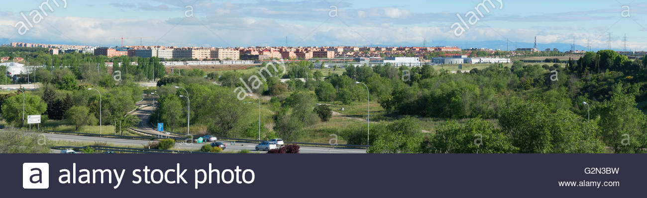 Panoramic view of the city of Leganes. Leganes is a famous municipality in the southwest of Madrid - Stock Image