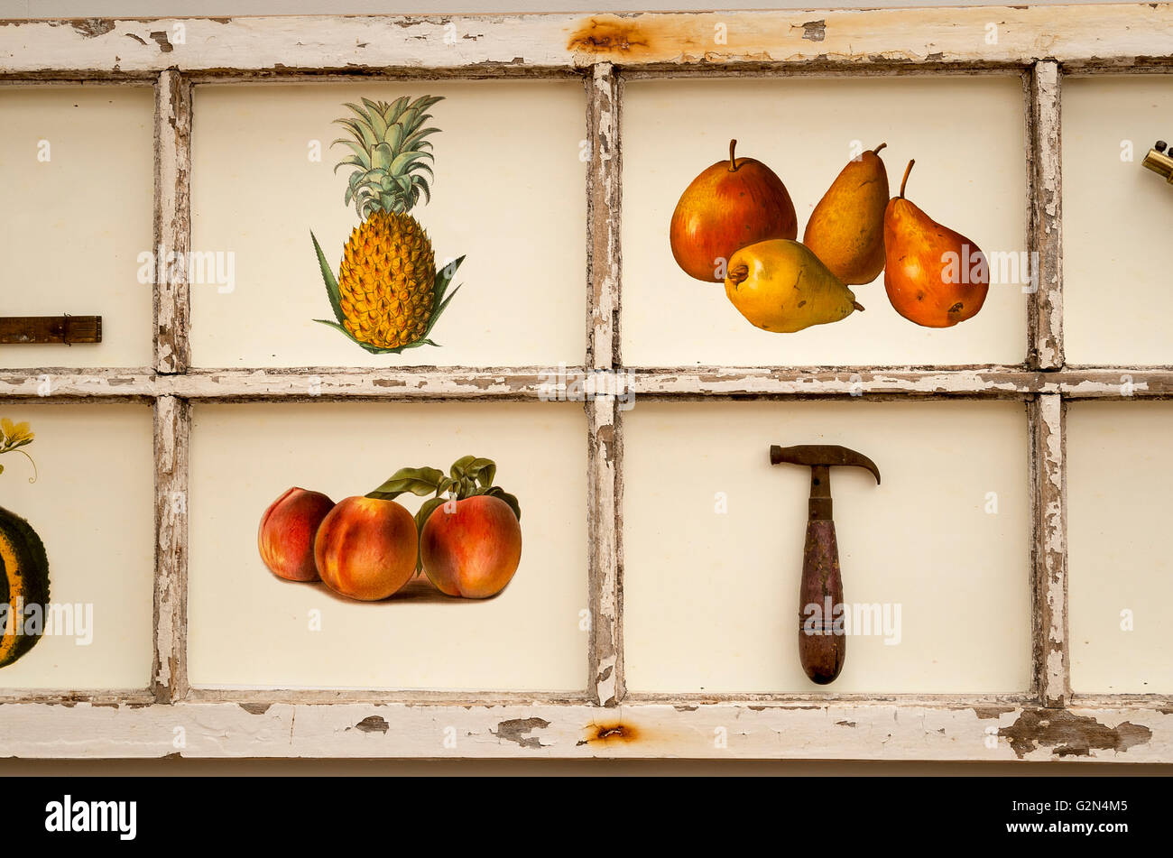 Detail of an illustrative picture depicting fruit and old tools - Stock Image