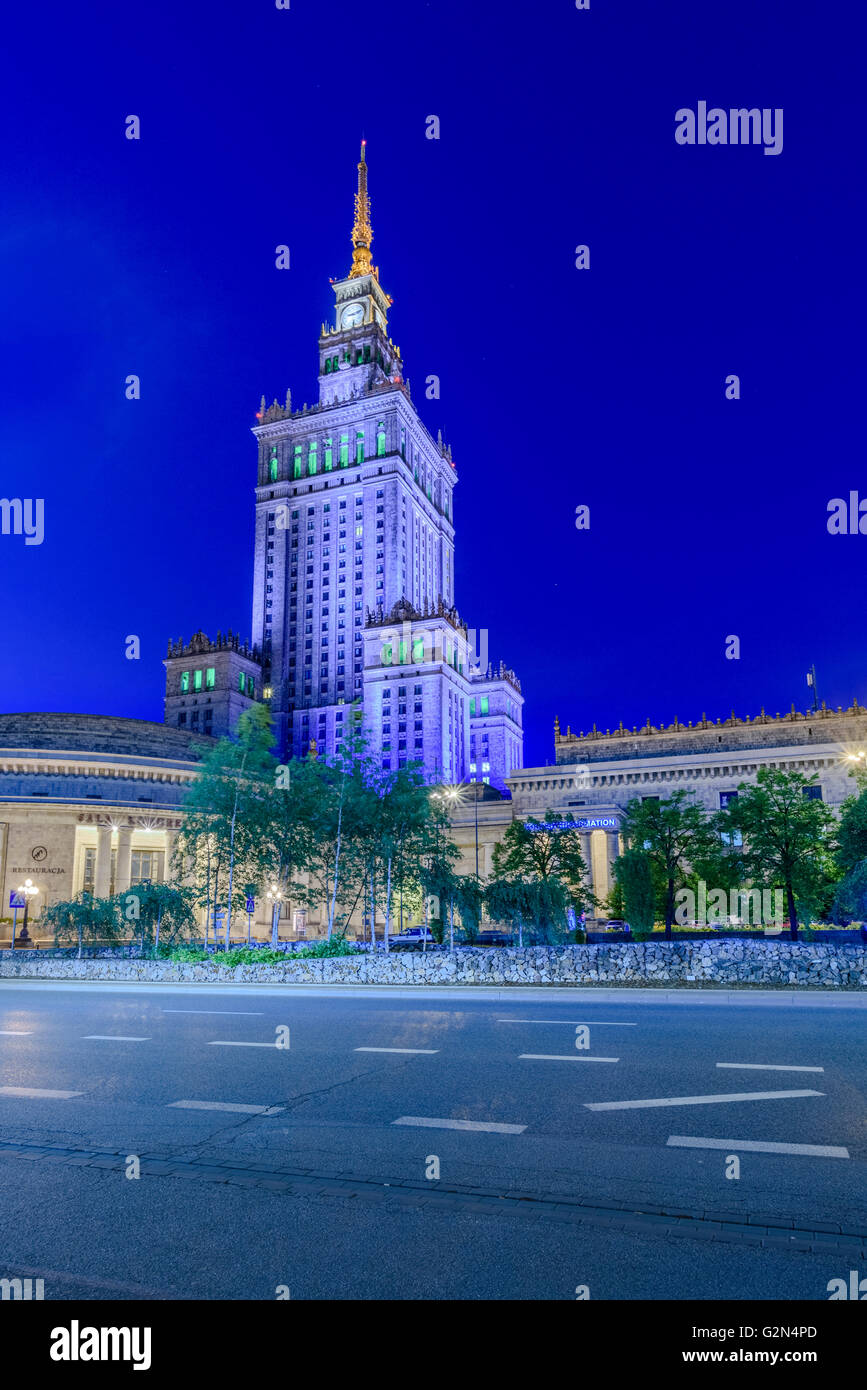 Warsaw Palace of Culture and Science in Warsaw Poland Stock Photo