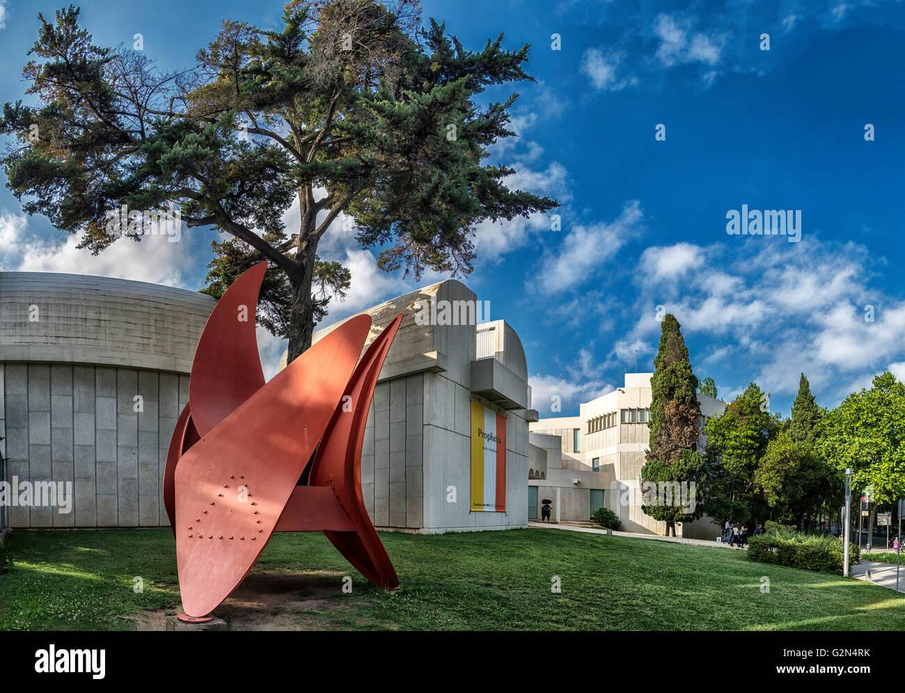 foundation Joan Miro, architect Josep Lluis Sert, Montjuic, Barcelona, Catalonia, Spain - Stock Image