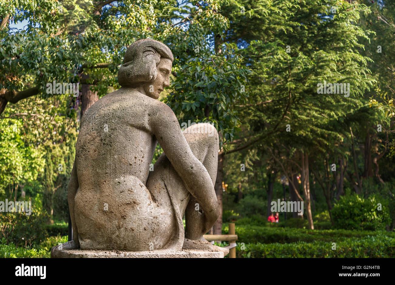 Statue in Montjuic, Barcelona, Spain - Stock Image