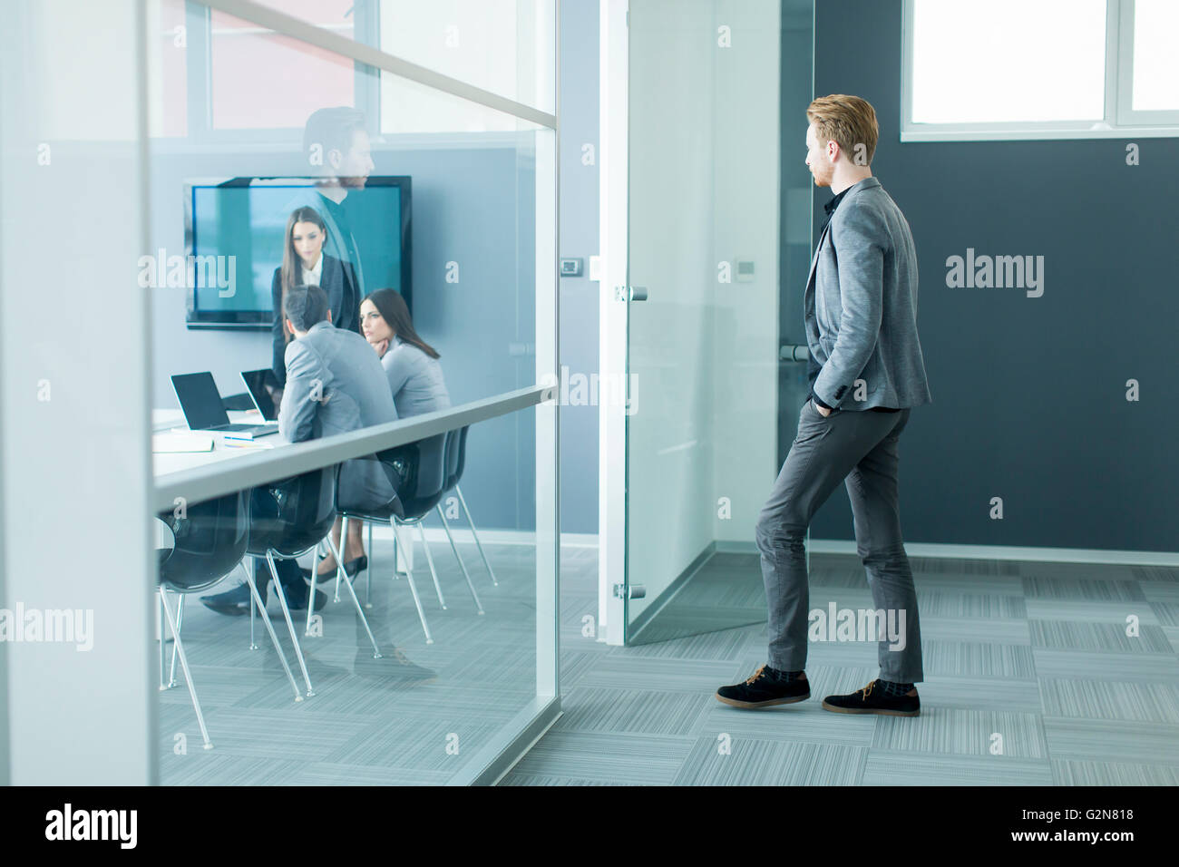 Business Man Walking Glass Door Stock Photos Business Man Walking