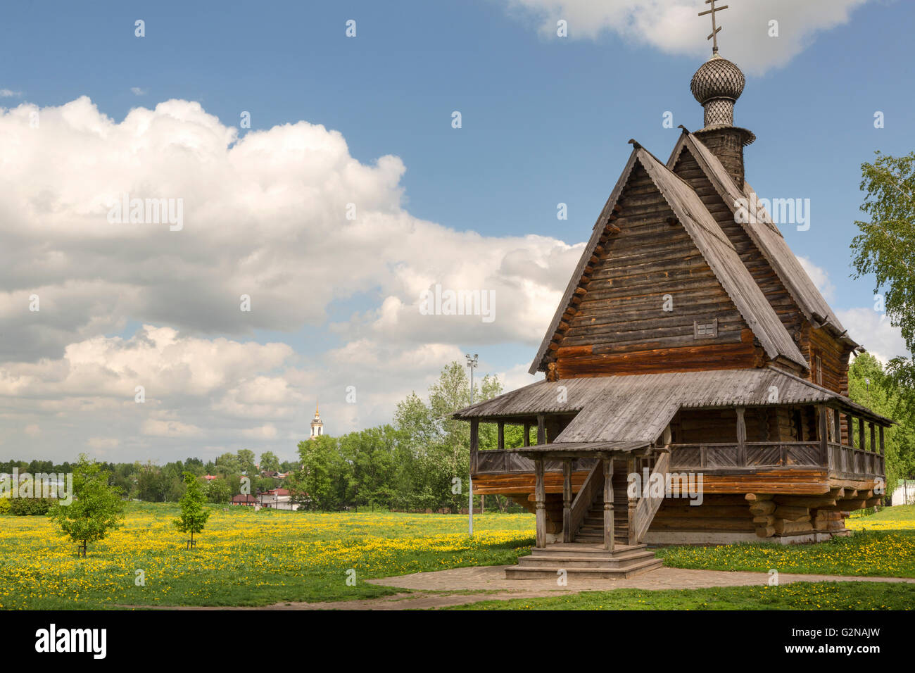 View of wooden Church of St. Nicholas in ancient Suzdal kremlin, Russia. Suzdal is part of famous touristic route - Stock Image