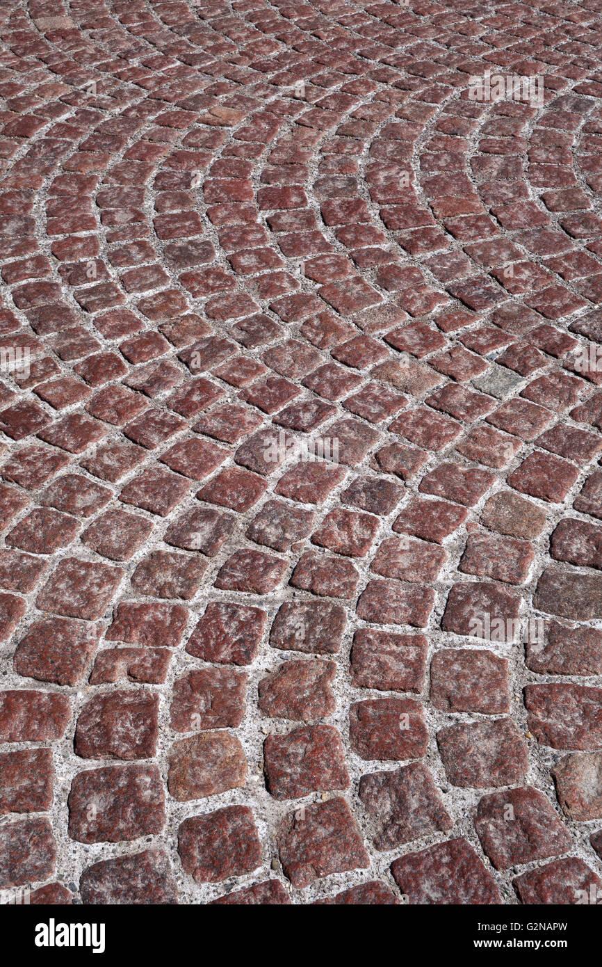 Red cobblestone - Stock Image