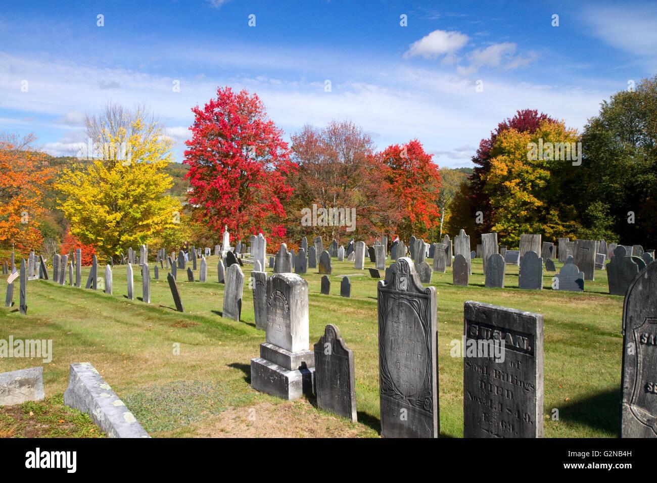 Rockingham Meeting House Cemetery in Rockingham, Vermont, USA. - Stock Image