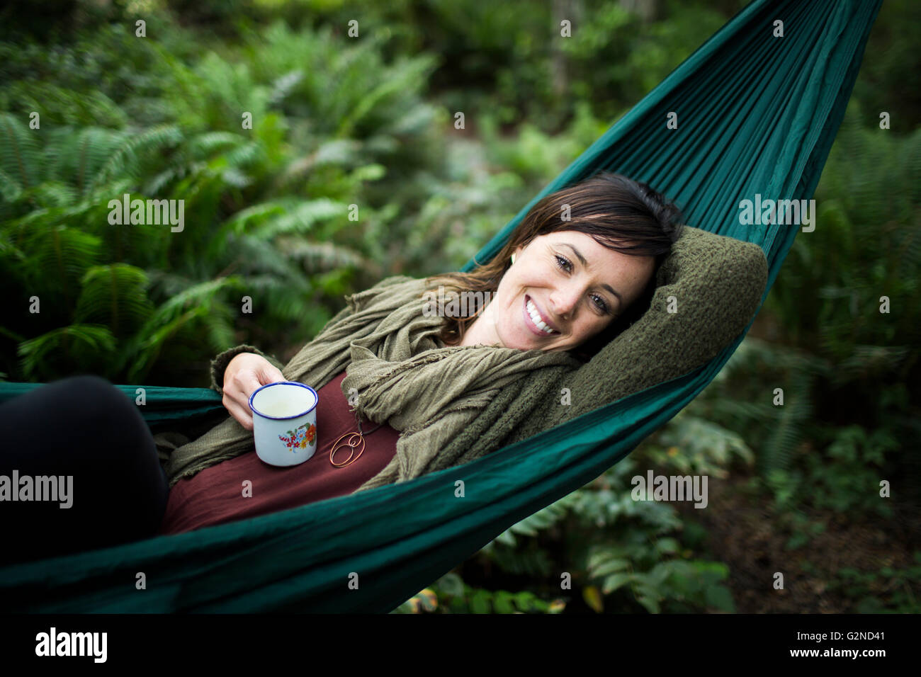 Hanging in a rain forest - Stock Image