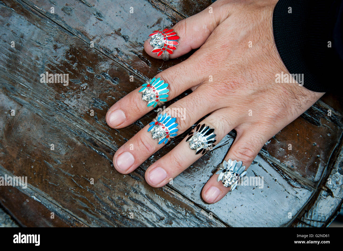 Indian Chief shaped silver rings - Stock Image