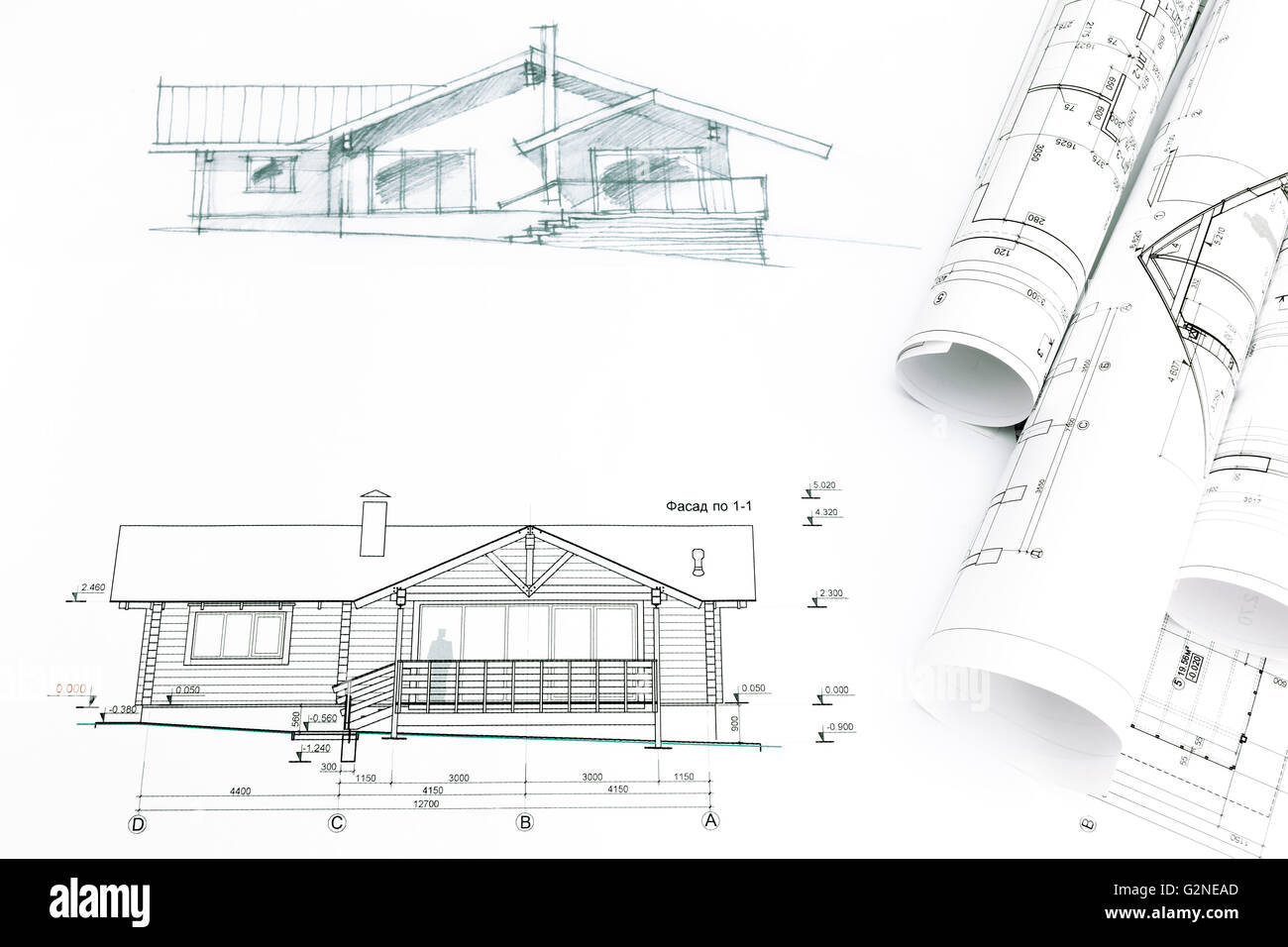 House sketch with engineering and architecture blueprints stock house sketch with engineering and architecture blueprints malvernweather Image collections