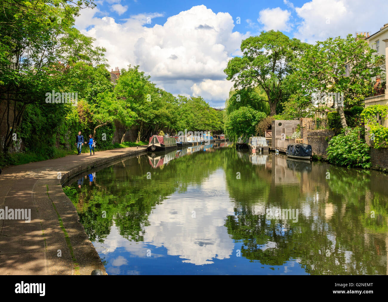 London, UK - May 23, 2017 - People walking on the towpath of Regent's canal Stock Photo