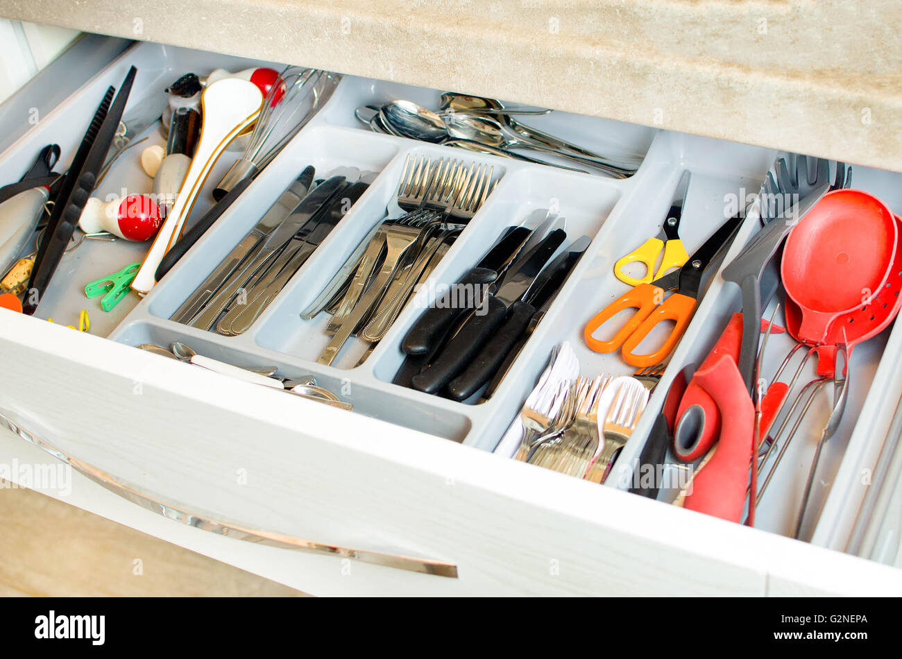 cutlery drawer - Stock Image