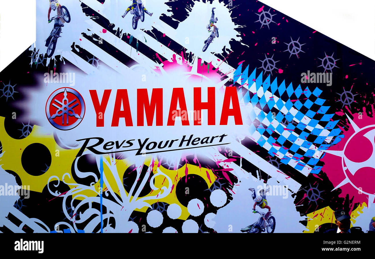 Yamaha brand motorbike advertising at the Auto Expo show 2016 at Greater NODIA, India - Stock Image
