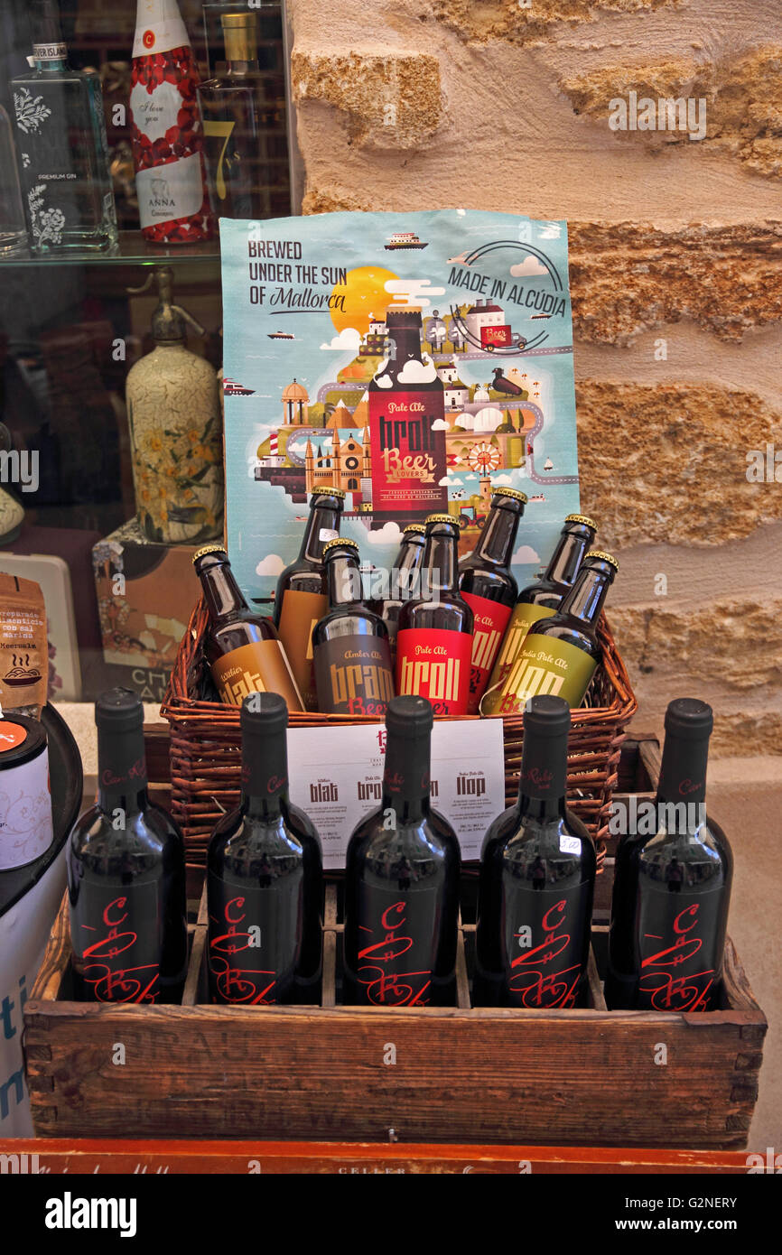 Display of Broll artisan beer brewed in Alcudia, Mallorca - Stock Image