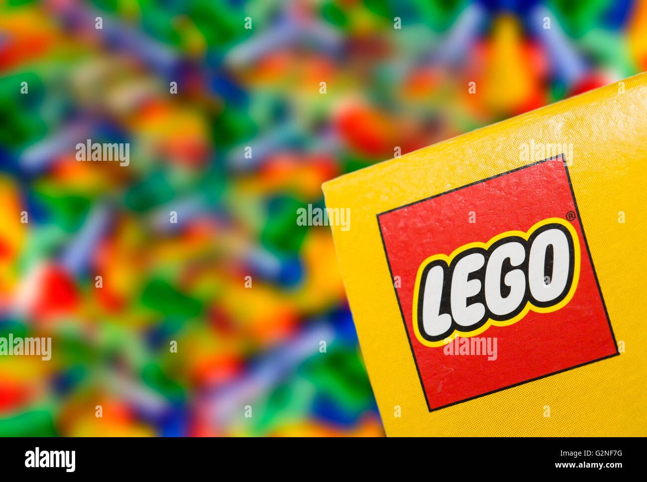 BELCHATOW, POLAND - January 06, 2015: Illustrative editorial photo of logo LEGO on the box. - Stock Image