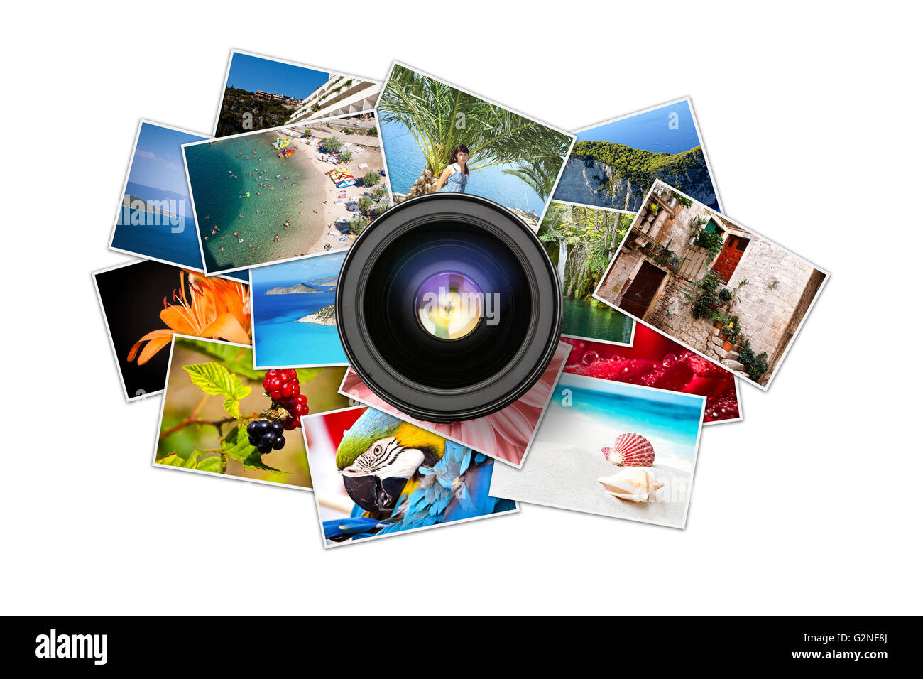 A pile of photographs with your empty space. - Stock Image