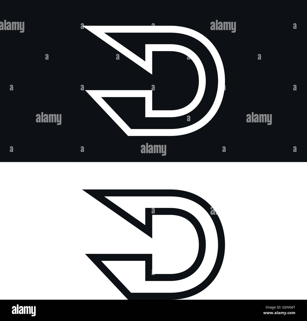 Vector Letter D Logo Icon Design Template Black And White Version