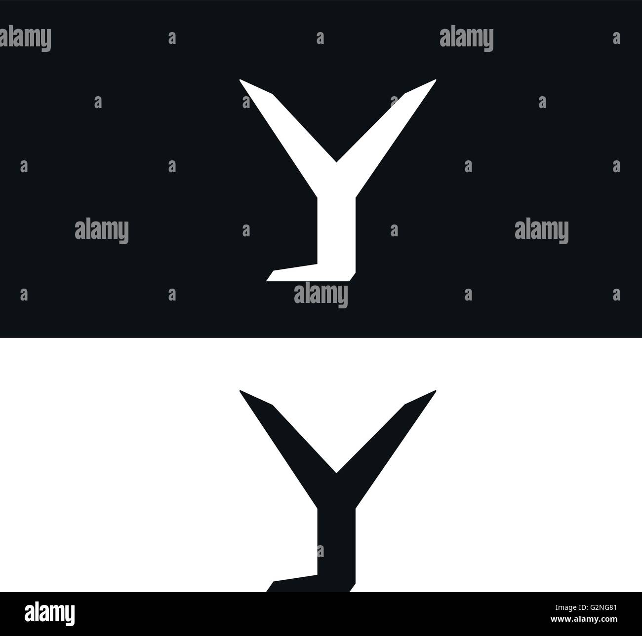 vector letter y logo icon design template black and white version