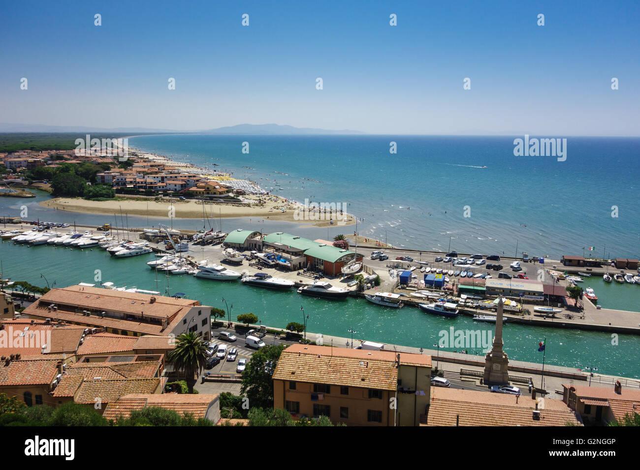 View from the Castello of the seaside town of Castiglione della Pescaia in the province of Grosseto, Tuscany Italy. Stock Photo