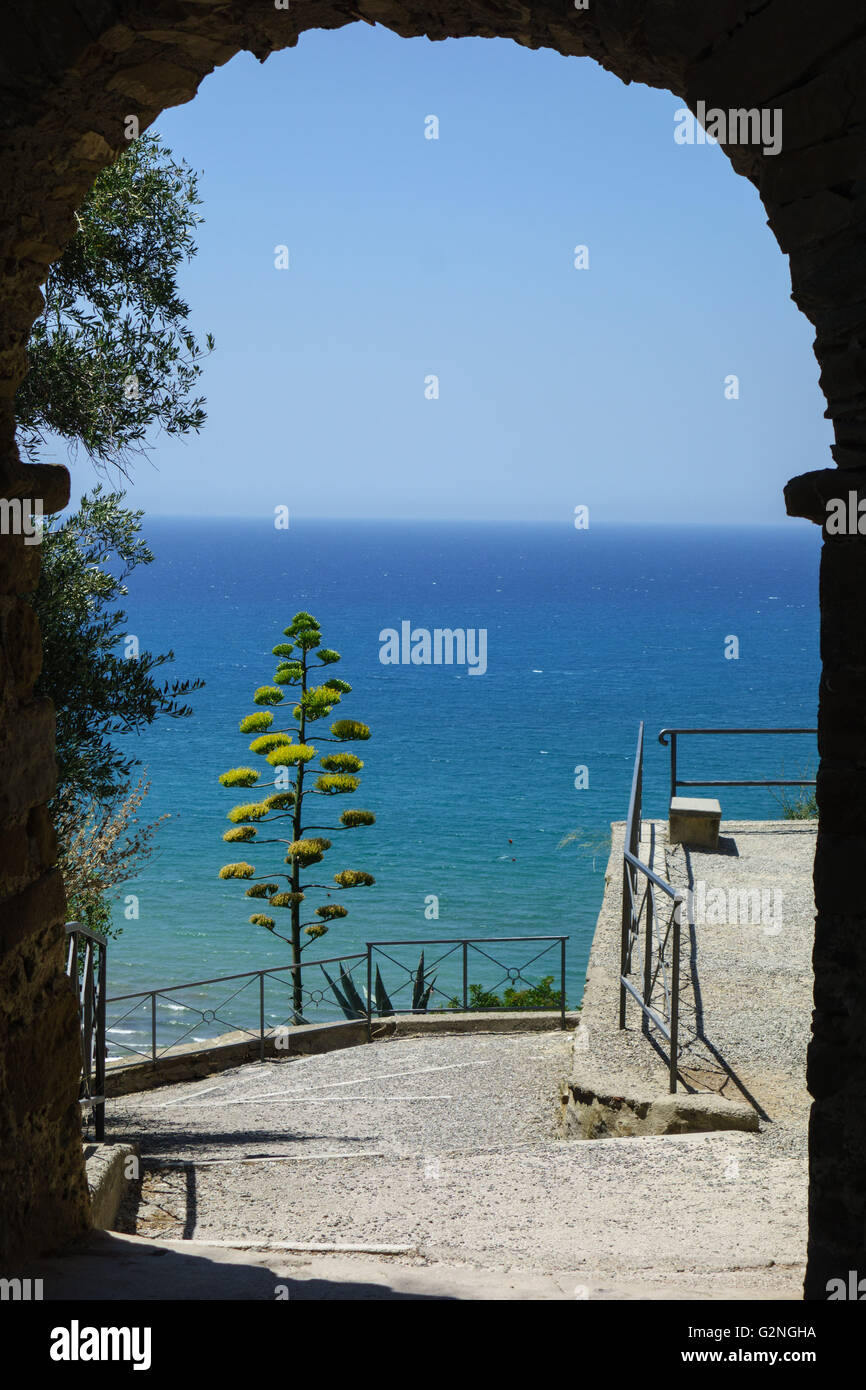 View from the Castello of the seaside town of Castiglione della Pescaia in the province of Grosseto, Tuscany Italy. Stock Photo