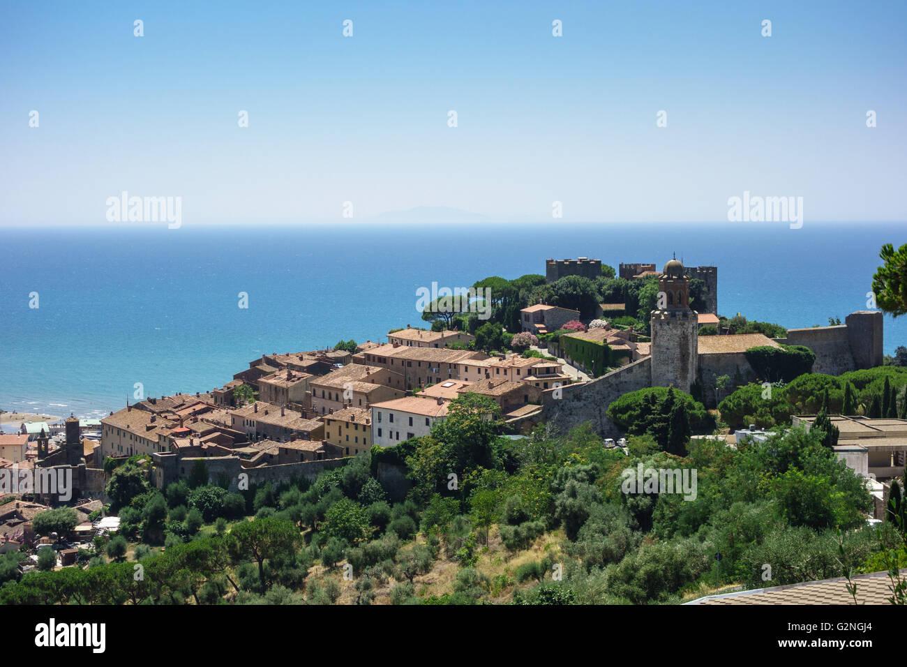 View of the Castello and Borgo Medievale in the seaside town of Castiglione della Pescaia in Tuscany Stock Photo