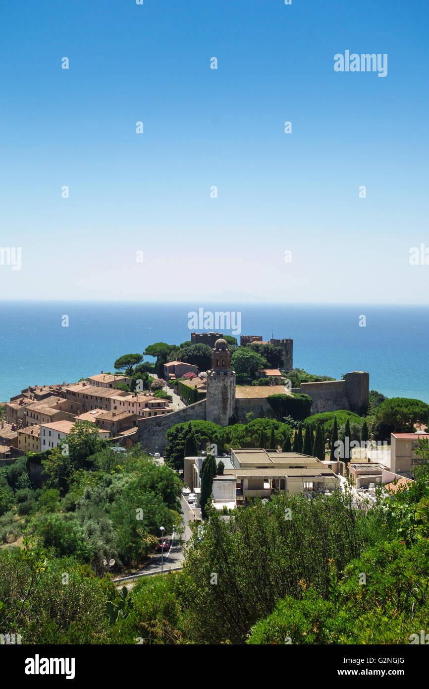 View of the Castello and Borgo Medievale in the seaside town of Castiglione della Pescaia in Tuscany Stock Photo