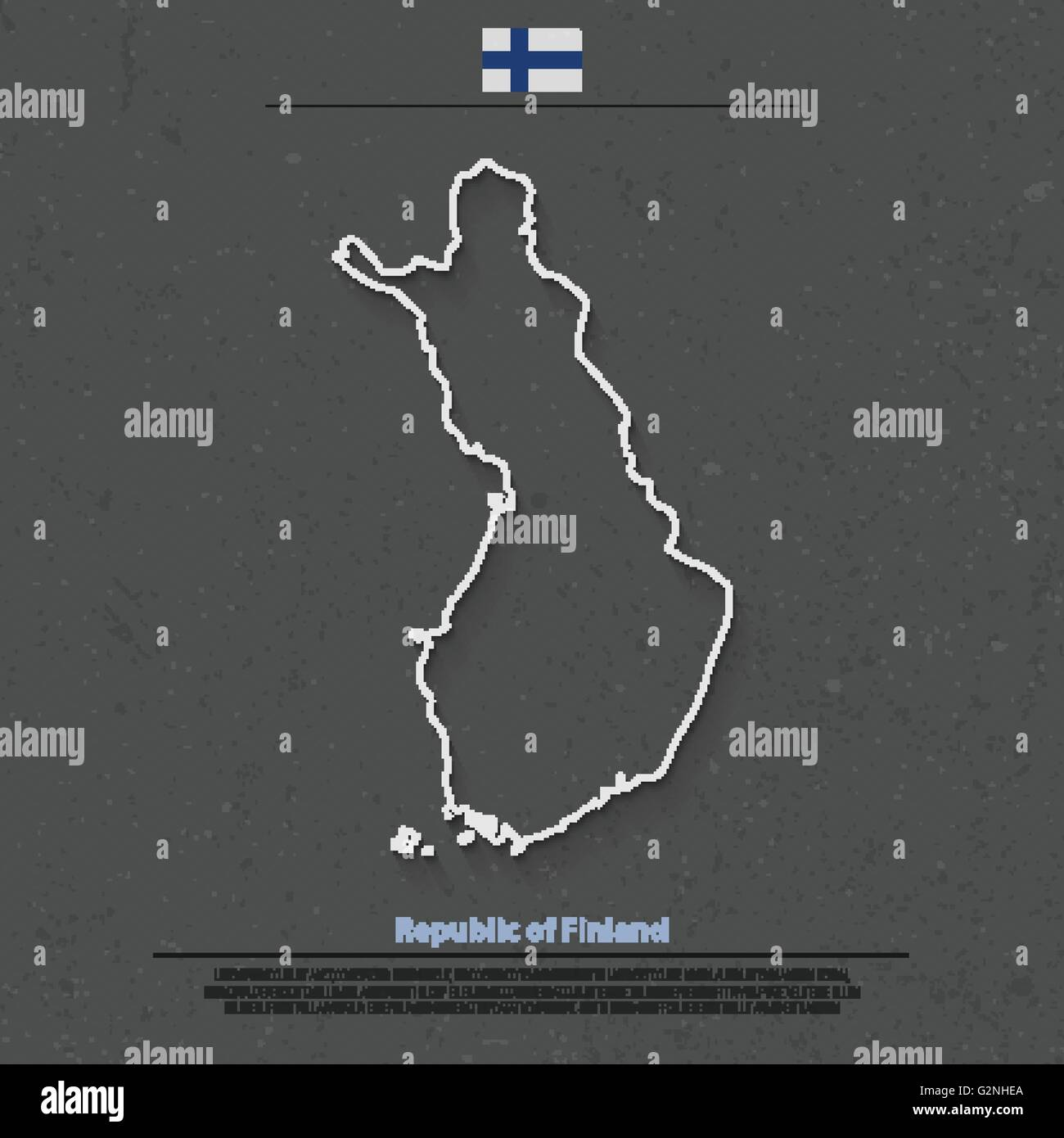 Republic of Finland isolated map and official flag icons. vector Finnish political map outline. Suomi geographic - Stock Vector