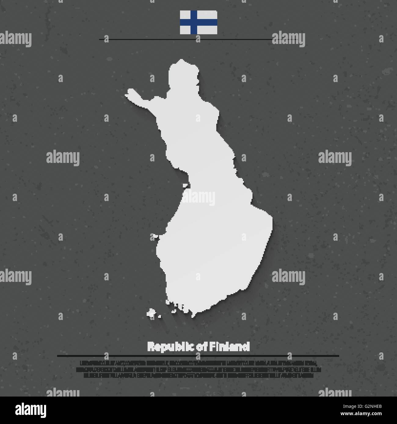 Republic of Finland isolated map and official flag icons. vector Finnish political map 3d illustration. Suomi geographic - Stock Vector