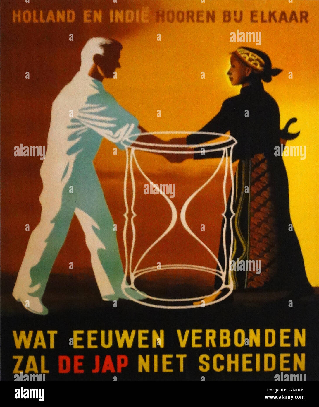 Dutch wartime propaganda poster 1942: : Holland and the indies - Stock Image