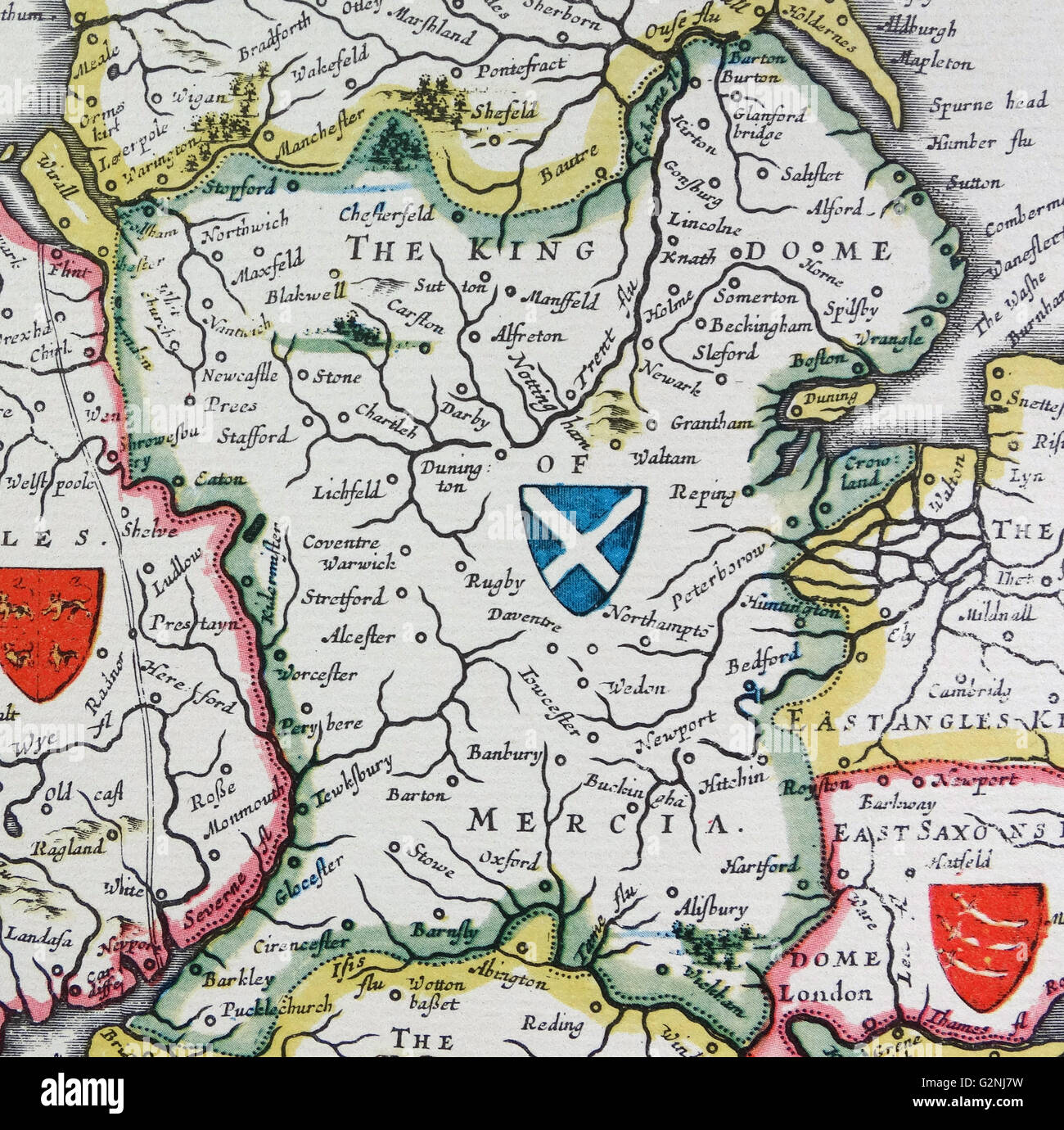 Shield of Mercia, from the Heptarchy; a collective name applied to the Anglo-Saxon kingdoms of south, east, and central England during late antiquity and the early Middle Ages, Detail from an antique map of Britain, by the Dutch cartographer Willem Blaeu in Atlas Novus (Amsterdam 1635) Stock Photo