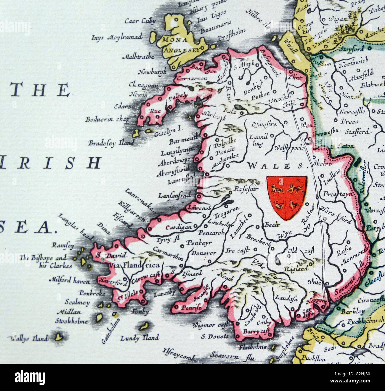 Shield of Wales, from the Heptarchy; a collective name applied to the Anglo-Saxon kingdoms of south, east, and central England during late antiquity and the early Middle Ages, Detail from an antique map of Britain, by the Dutch cartographer Willem Blaeu in Atlas Novus (Amsterdam 1635) Stock Photo