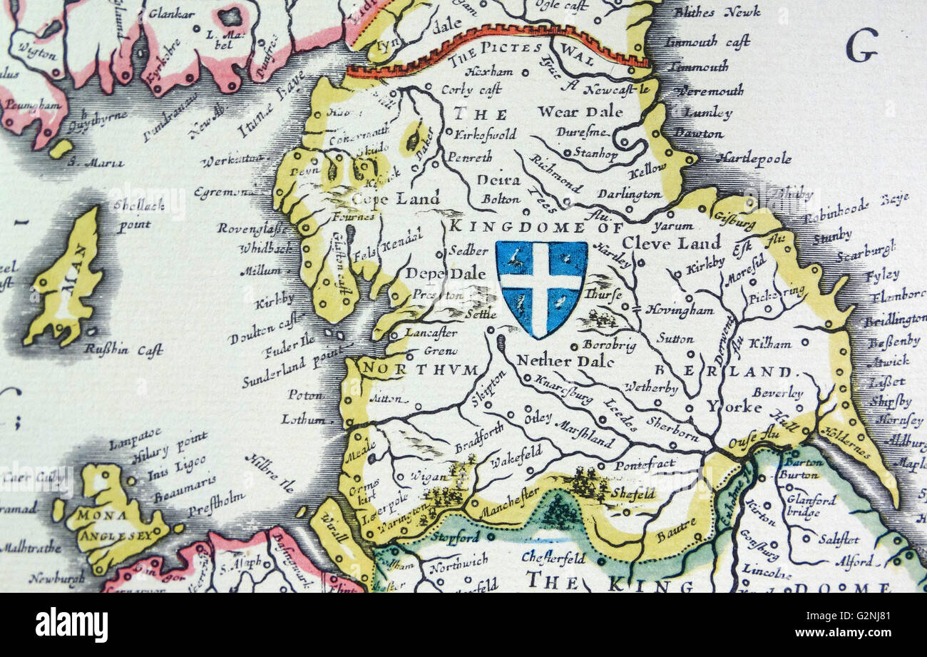Shield of Northumberland, from the Heptarchy; a collective name applied to the Anglo-Saxon kingdoms of south, east, and central England during late antiquity and the early Middle Ages, Detail from an antique map of Britain, by the Dutch cartographer Willem Blaeu in Atlas Novus (Amsterdam 1635) Stock Photo