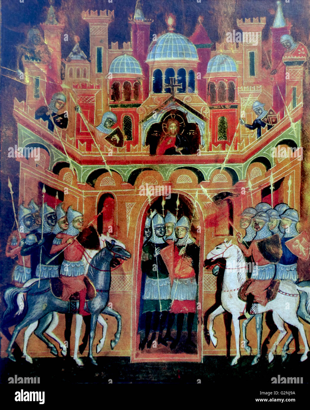 Venetian Miniature depicting the Holy War Stock Photo