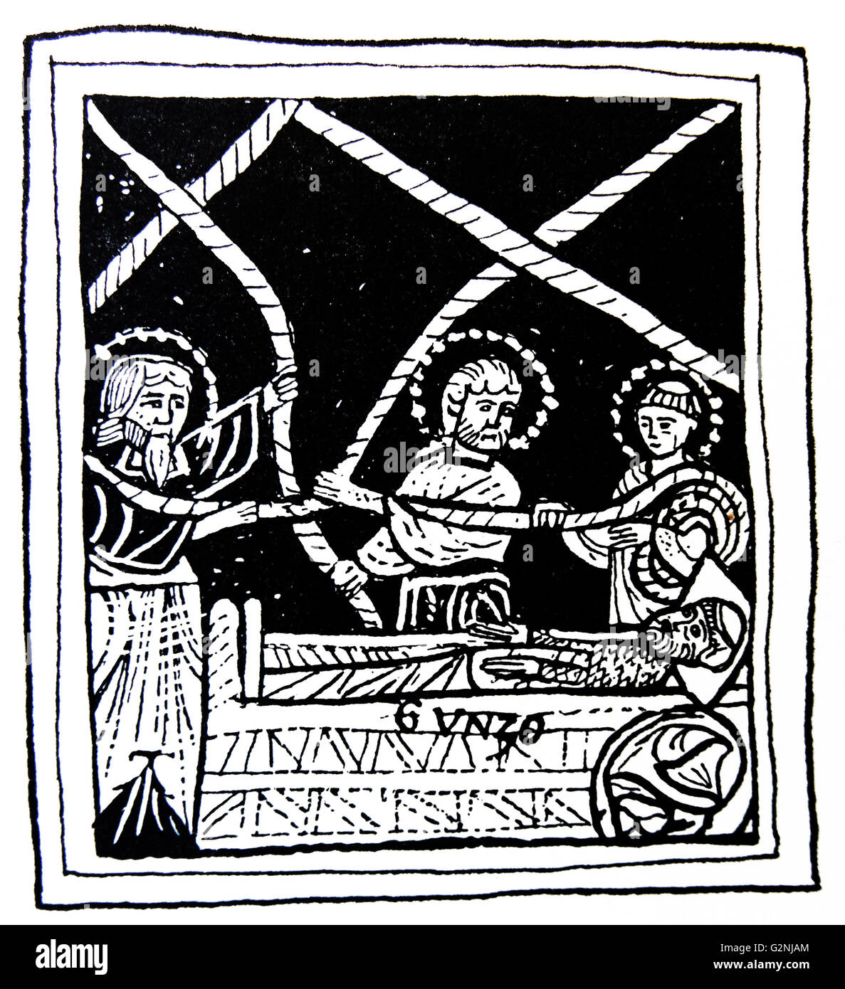 Illustration depicting the Monk Gunzo laying a stick in bed with Abbot Hugh of Cluny and his dream - Stock Image