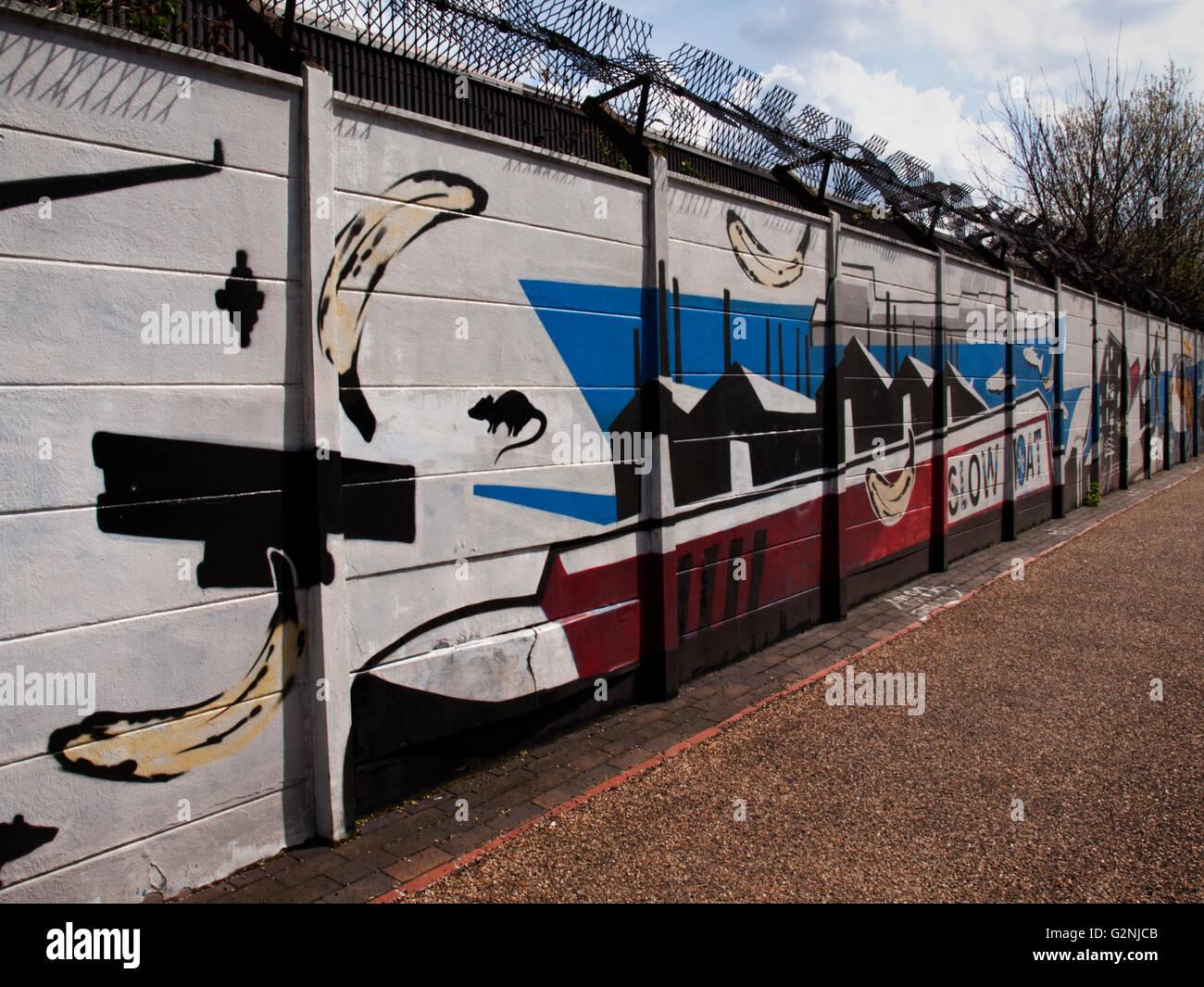 Grand Union Canal Urban Art/Graffiti - Stock Image