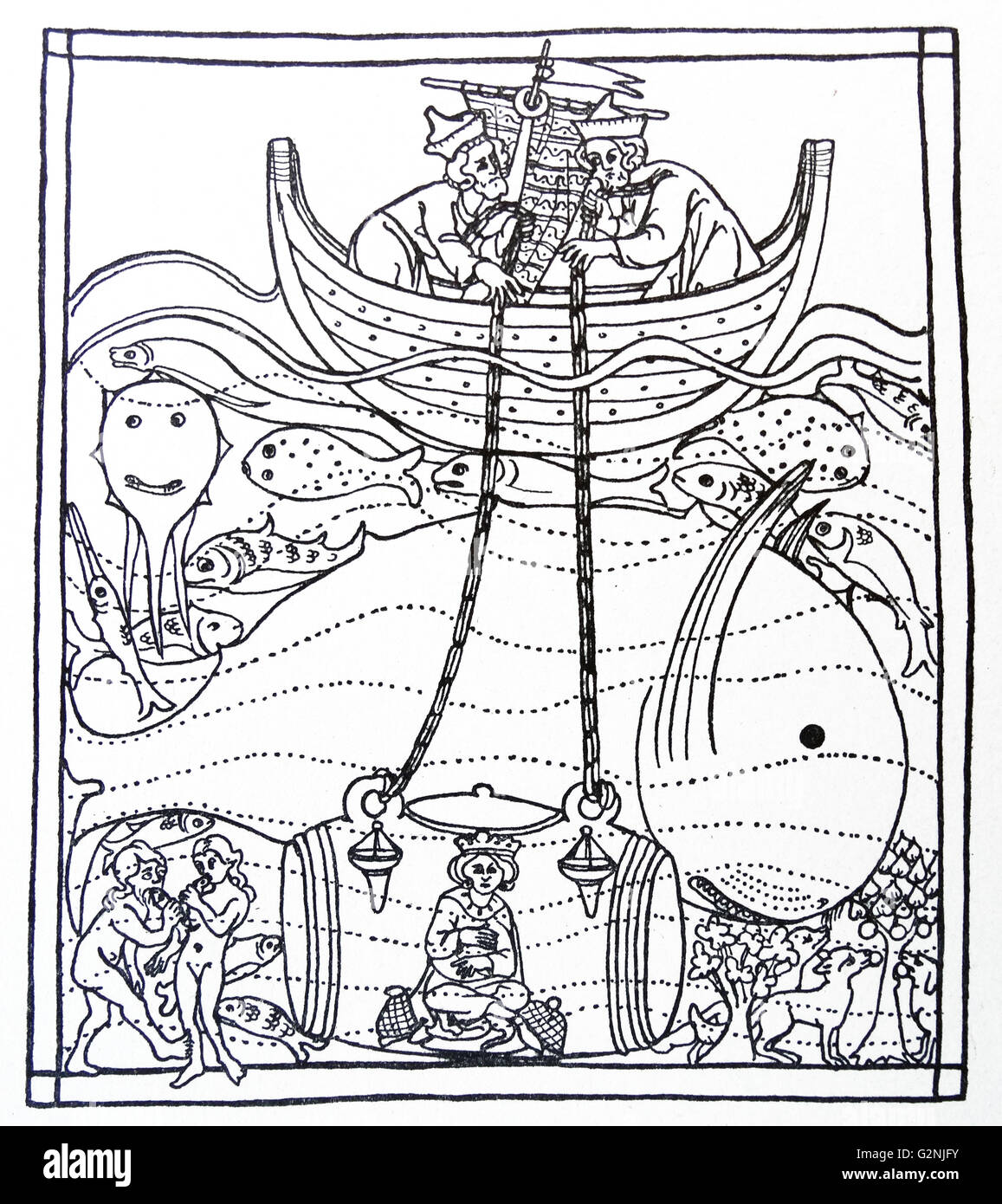 mediaeval line drawing of alexander the great descending to the