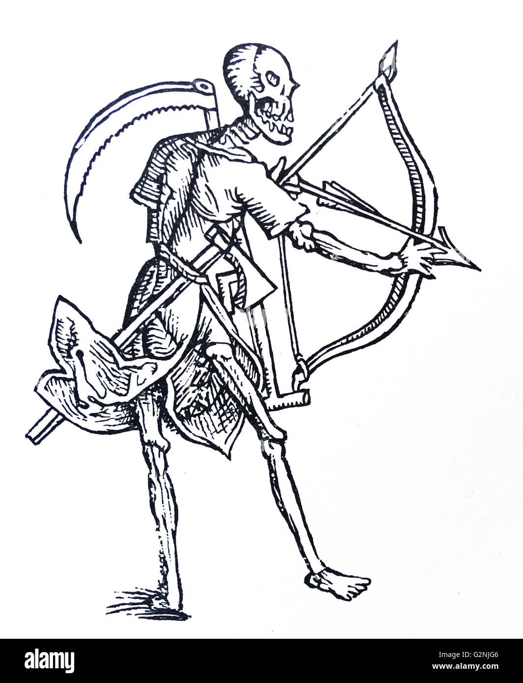 Mediaeval line drawing of death with a bow and scythe - Stock Image