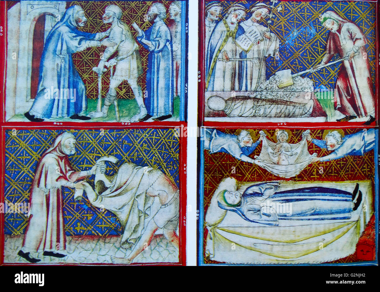 Miniature from the Catalan version of the Breviary d' Amor, depicting the Seven acts of Mercy - Stock Image